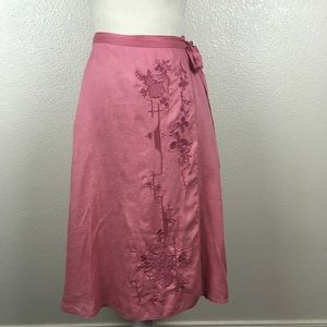 Vintage J. Crew Embroidered Linen Wrap Skirt